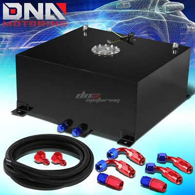 20 Gallon/78L Black Aluminum Fuel Cell Gas Tank+Level Sender+Nylon Oil Feed Kit