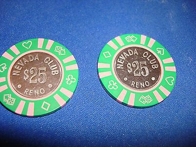 $25  Bud Jones Vintage Chip Nevada Club Casino Reno Nv  2 For One Bid !!