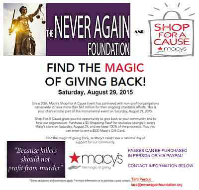 Macy's Shop for A Cause Pass supporting The Never Again Foundation Legal Service