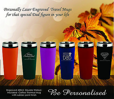 Personalised Fathers Day Travel Mug Gift Present Dad Engraved Birthday Coffee