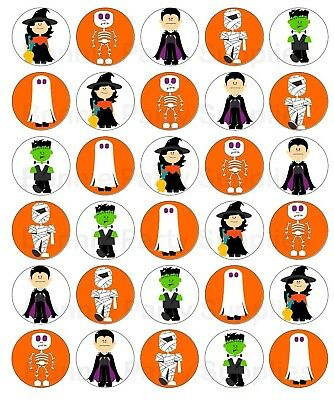 30 Halloween Edible Wafer Cupcake Toppers