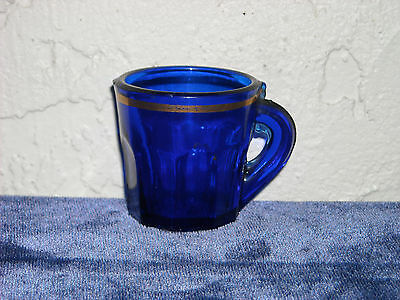 Panelled Children's Toy Cobalt Mug with Gold Band