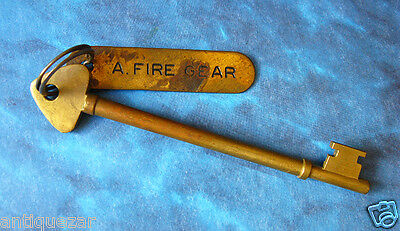 "Rare Genuine ""Fire Gear"" Tag Antique Ship Skeleton Key Brass Old Nautical Navy"
