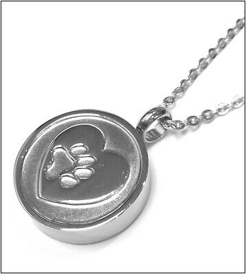 """Cremation Ashes Jewellery Pet Keepsake Necklace Urn """"PawPrint Heart"""" ENGRAVABLE*"""