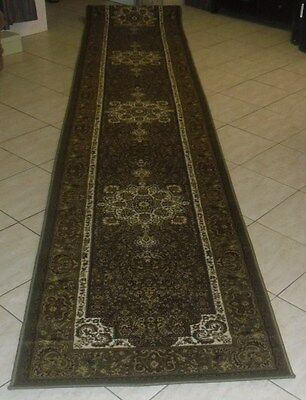 New Extra Long Green Persian Design Heatset Floor Hallway Runner Rug 80X500Cm