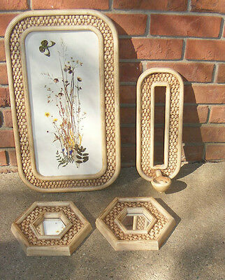 4 Pc Vintage Home Interiors Wall Hanging Print Sconce and 2 Mirrors Wicker Look