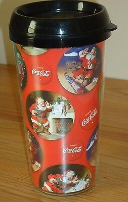 "Santa Claus Coke Plastic Travel Mug Christmas 6.75"" tall"