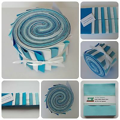 MODA Fabric Strips, Jelly Roll or Charm Pack 100% Cotton Blues White Patchwork