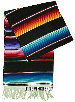 SERAPE Mexican Blanket - MULTI BLACK - SOUTHWESTERN 5' x 7' Falsa Serape Throw