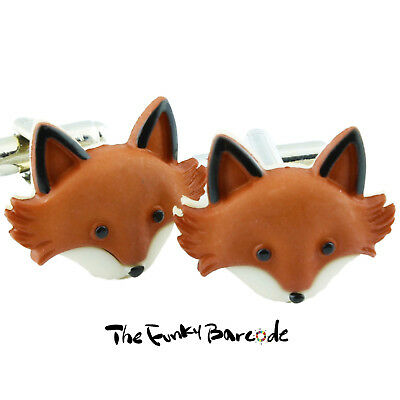TFB - FUNKY FOX FACE CUFFLINKS Wild Animal Kitsch Retro Prom Gift Cool With Box