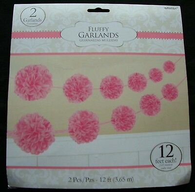 2 x PINK Paper Party Garland Fluffy Pom Poms christening baby shower FREE P&P pl