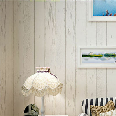 Holiday Cottage Theme - 10M x 0.53M Cream Timber Wood Panel Project Wallpaper AU