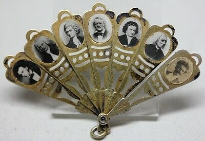 RARE Antique SILVER MINIATURE FAN w/ 14 CLASSICAL MUSIC COMPOSERS BEETHOVEN BACH