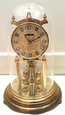"Kundo German Anniversary Winding Movement Mantle Clock with Glass Dome 11.5""H"