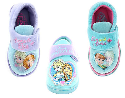 Girls Kids Disney Frozen Elsa Anna Olof Slipper Shoe Pink Aqua Toddler Size 4-13