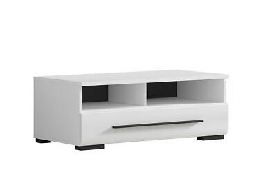 White Gloss TV Cabinet TV Unit Entertainment Stand Drawer 100 cm W 37 cm H Fever