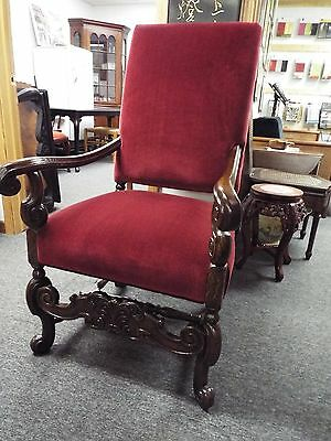 Sale **** Oak Throne Chair - Fully Restored & Reupholstered
