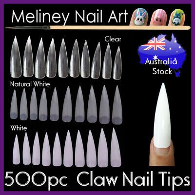 500pc Claw Stiletto Nail Tips Divot False Fake Long Clear White Full Well Nails