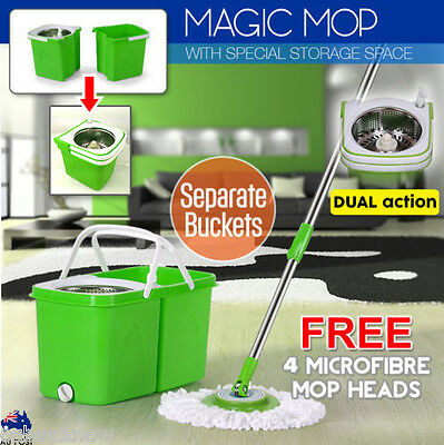 New Magic Mop 360° Spinning Stainless Steel Dual Bucket 4 Microfibre Mop Heads