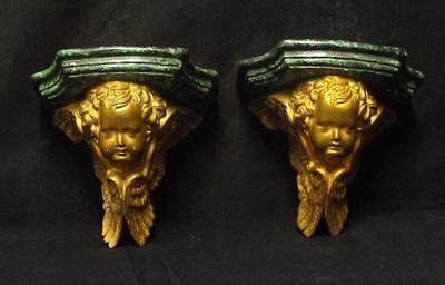 Vintage Pair of Decorative Plaster Cherubs Wall Shelves Faux Marble Nice!