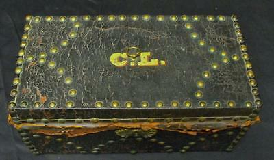 "Antique Decorated Leather Box with Initials ""CL"" lined w/Newspapers from 1836"