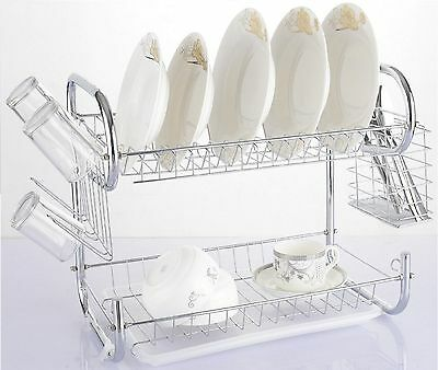 Dish Drip Dry Chrome Plated Drying Rack Stacker Plates Washing Up