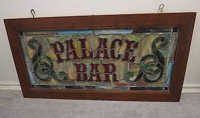 PALACE BAR STAINED GLASS WINDOW VINTAGE ANTIQUE 1940's WESTERN COLLECTIBLE