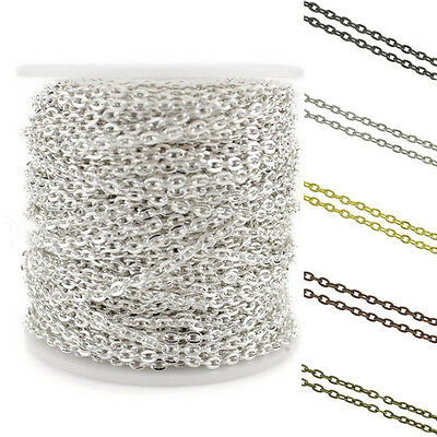 2/5/100M Plated Charm Cable Open Link Iron Metal Chain HQJewelry Finding 3x4mm