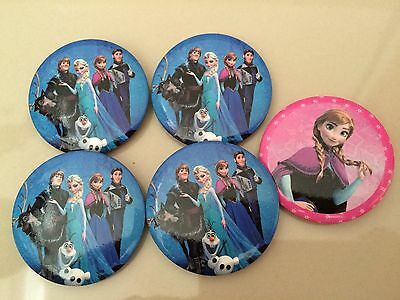 5pcs FROZEN 45mm Plastic Cartoon Badge Brooch Pin Birthday Party Lolly Bag Gift