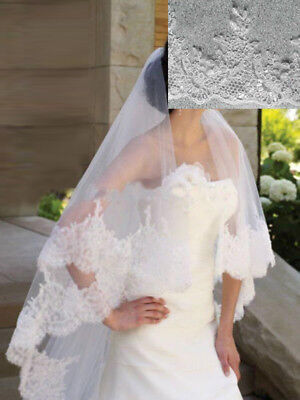 New Bridal Veil lace edge Wedding Veils Cathedral 2 Tiers 3M Long with comb