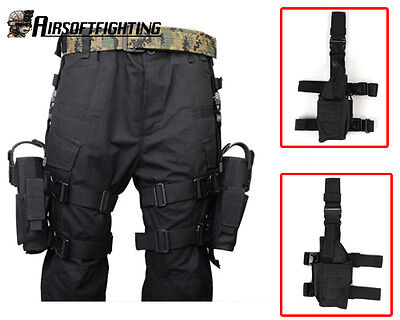 Pistol Right + Left Hand Drop Leg Thigh Holster Pouch Tactical Military Hunting