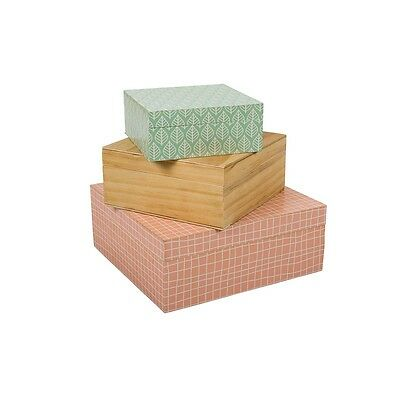 SET of Three 3 GORGEOUS Wooden Boxes Trinket Storage Jewellery 3 Colours DIVINE!
