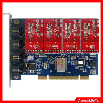 FXO Card 4 FXO Supports Elastix FreePBX Asterisk card PCI tdm400p tdm410p tdm400
