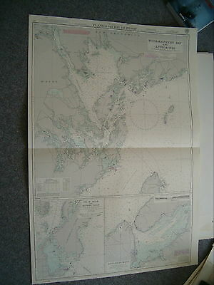 Vintage Admiralty Chart 464 PLANS IN THE BAY OF FUNDY 1957 edn