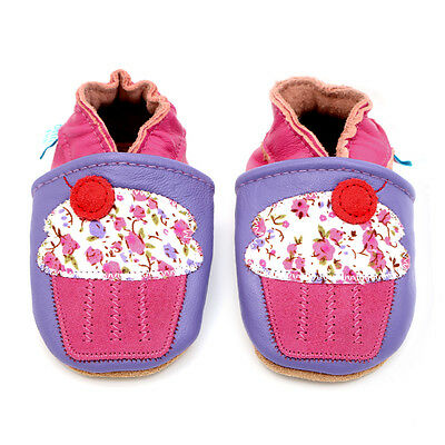 Dotty Fish Soft Leather Baby Girls Shoes - Lilac Cupcake - 0-6mths to 3-4yrs