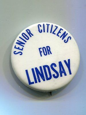 Senior Citizens for Lindsay Button NYC Mayor