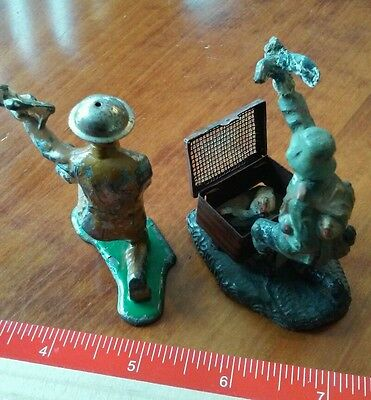 NEW PRICE - WW1 German & US Toy Soldiers Releasing Pigeons, SPY Coded Messages