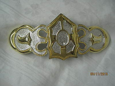 Vintage Alexis Kirk Gold & Silver tone large Western style Belt Buckle