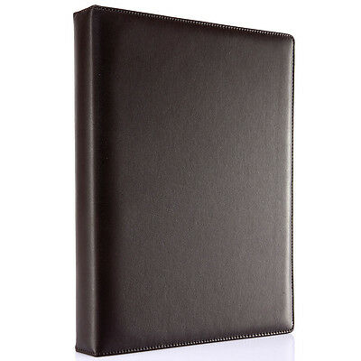 Brown Leather Cover Office Document A4 File Folder Loose-leaf Travel Padfolio