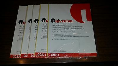 5 sets of 5 Clear Tab Index Dividers for 3 Ring Binder Universal indexes 20831