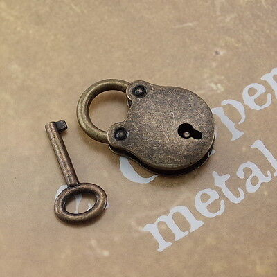 Old Vintage Style Mini Padlock With Keys--Antique Brass Color