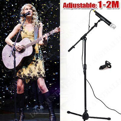 Telescopic Boom Microphone Stand Adjustable Mic Holder Tripod 1 to 2 M AU POST