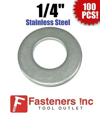 "(100) 1/4"" Stainless Steel Flat Washers (18-8 Stainless) 5/8"" OD / .037 Thick"