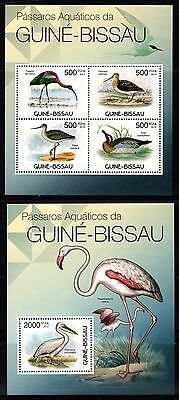 Guinea-Bissau 2012 Water Birds Sheetlet 4 + M/S MNH