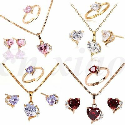 18K Gold Filled Heart Earrings Necklace Jewellery Sets for Girls Kids Children