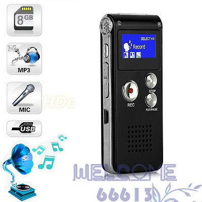 8GB Spy Sound Voice Recorder Digital Dictaphone MP3 Player Rechargeable record