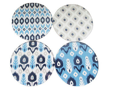 Urban Set of 4 Glass Coasters Blue White Grey Taupe Tribal Moroccan Design ROUND