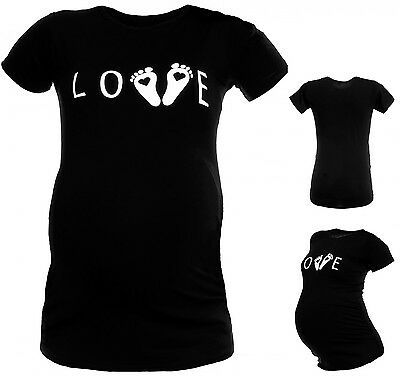 Happy Mama. Women's Maternity Love and Little Feet Funny Print Top T-shirt. 107p