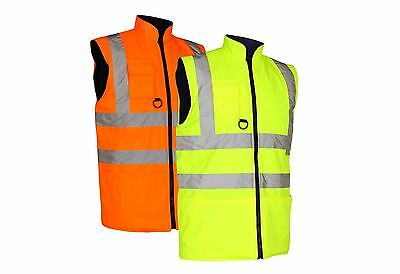 Hi Vis Viz Reversible Waterproof High Visibility Waistcoat Body Warmer Fleece Li