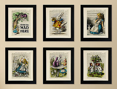 SET OF 6 MOUNTED ART PRINTS ON OLD ANTIQUE BOOK PAGE, Alice in Wonderland